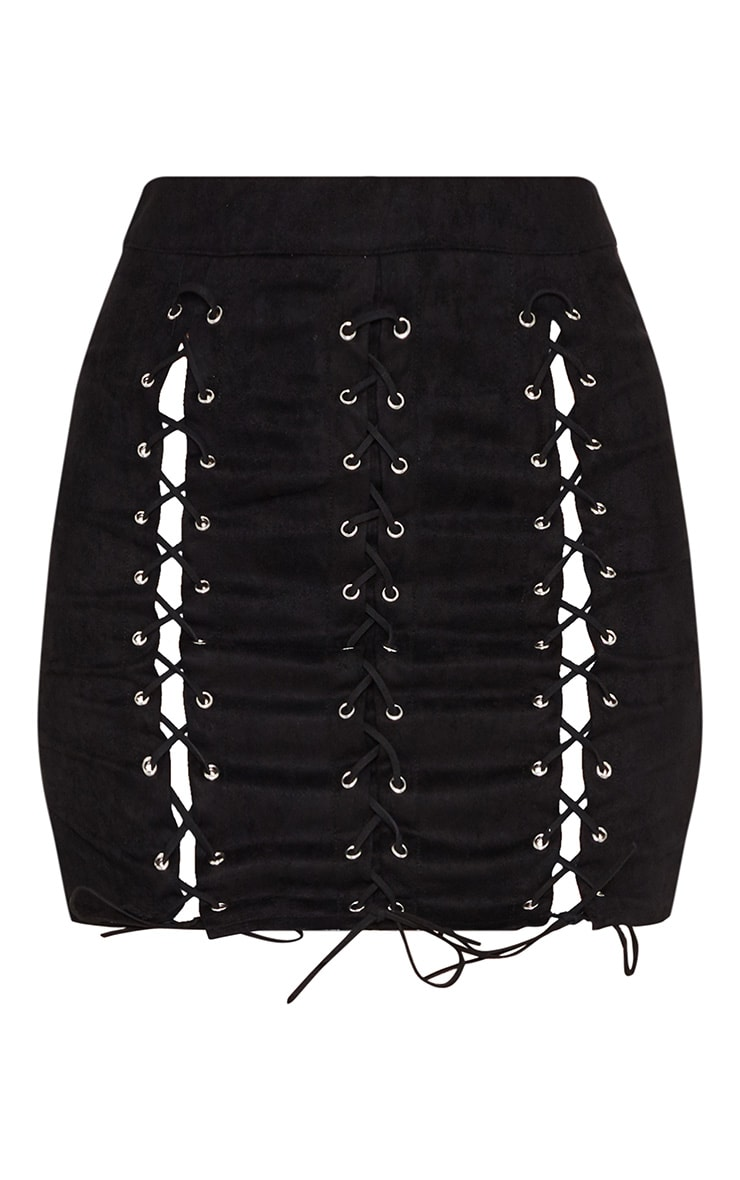 Black Faux Suede Lace Up Detail Mini Skirt 3