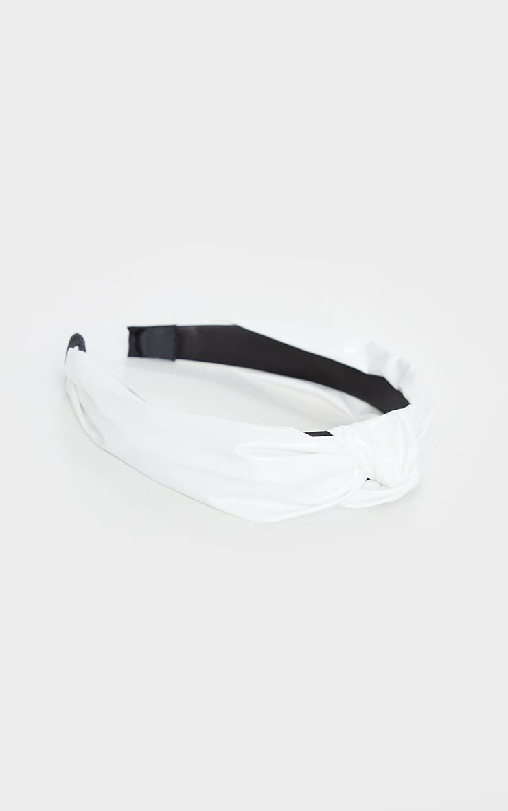 White PU Twist Headband 4