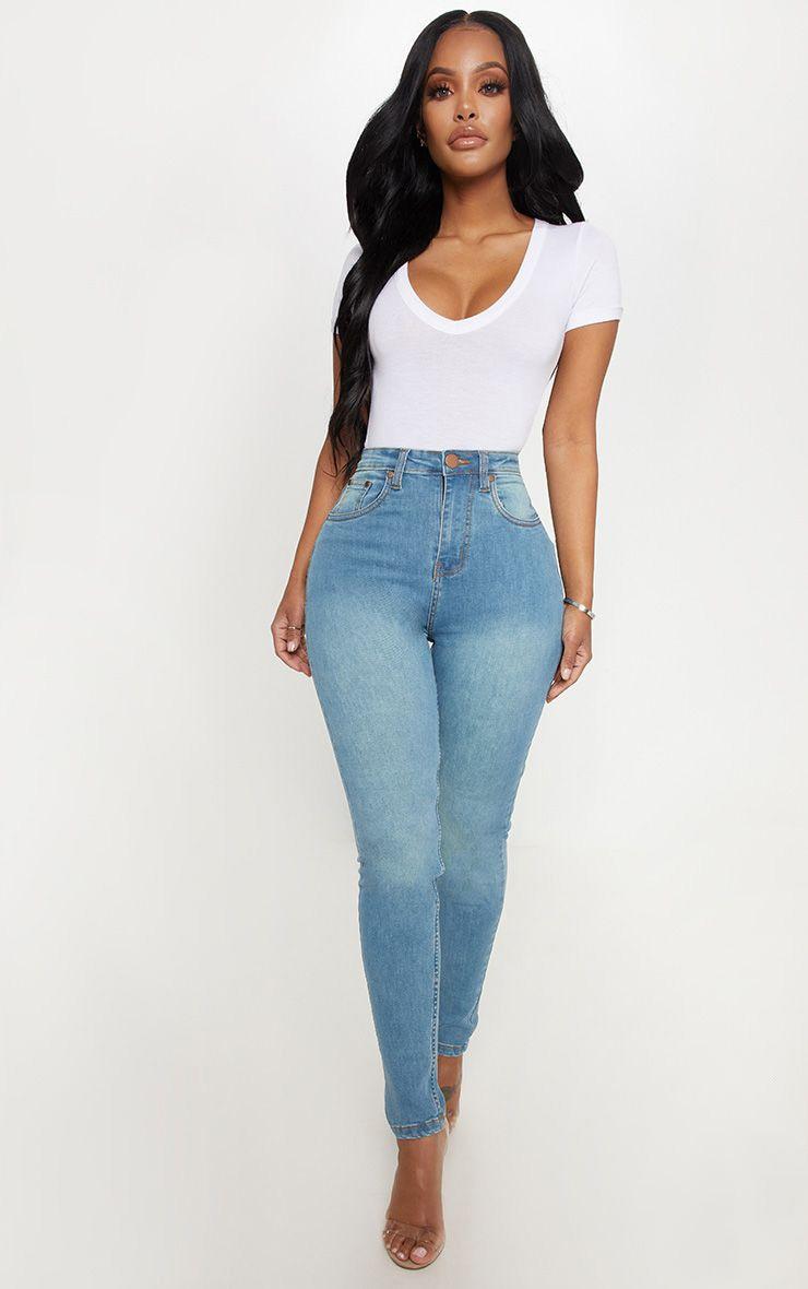 Shape Light Wash High Waist Skinny Jean 1