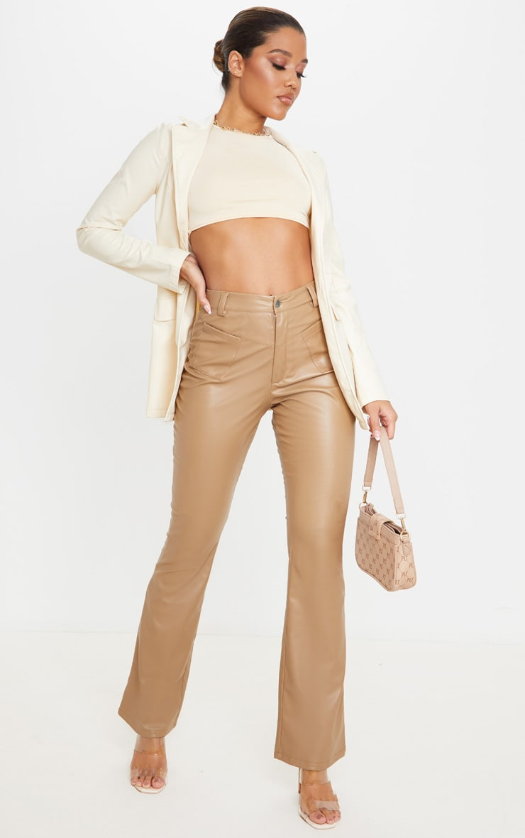 Camel Faux Leather Pocket Detail Straight Pants 1