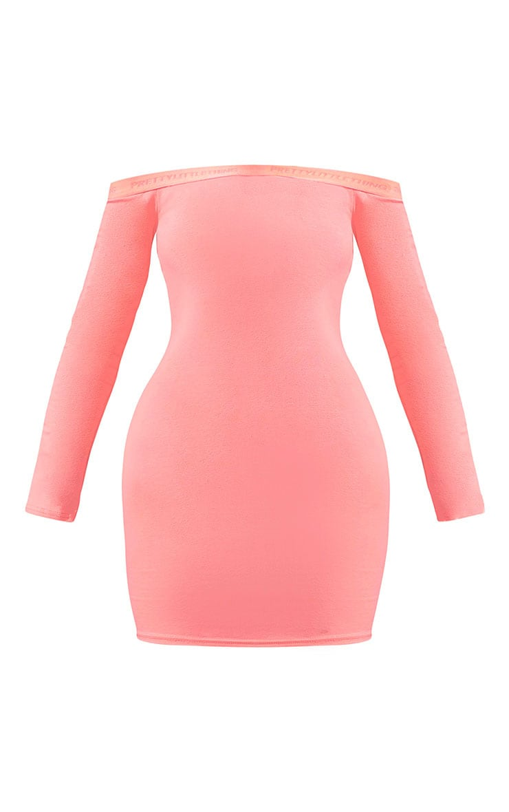 PRETTYLITTLETHING Shape Coral Bardot Long Sleeve Bodycon Dress 5