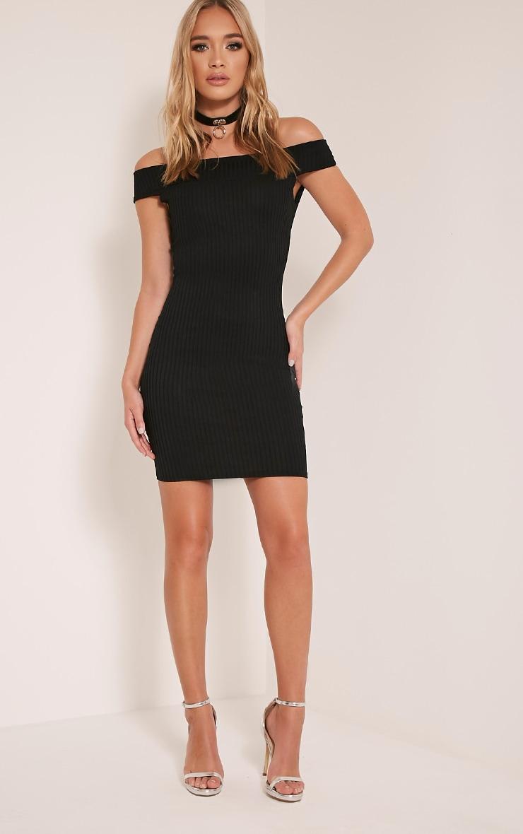 Rylah Black Bardot Ribbed Bodycon Dress 5
