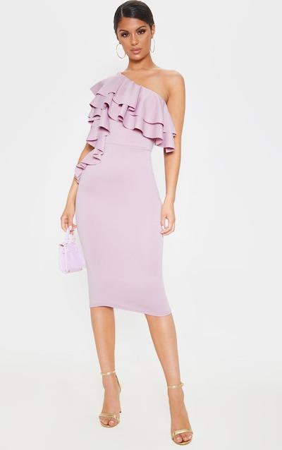 Dusty Lilac One Shoulder Ruffle Detail Scuba Midi Dress