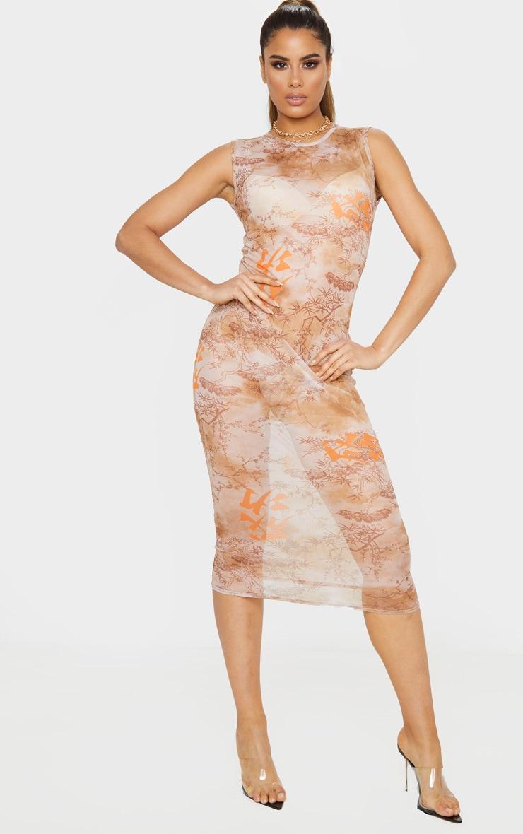 Tall Nude Oriental Mesh Midi Dress 4