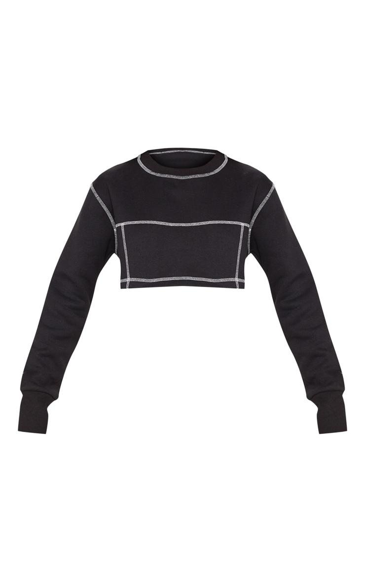Black Contrast Stitch Crop Sweater 3