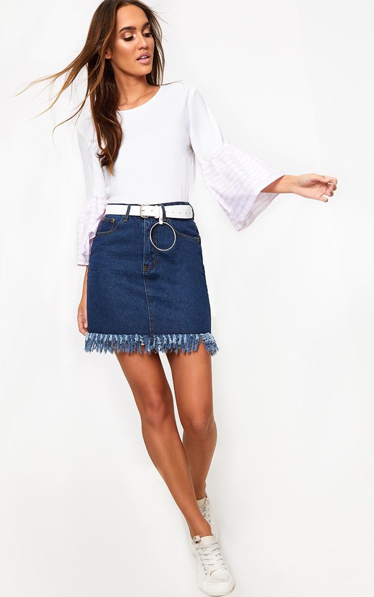 Cream Stripe Frill Sleeve Jersey T Shirt 3