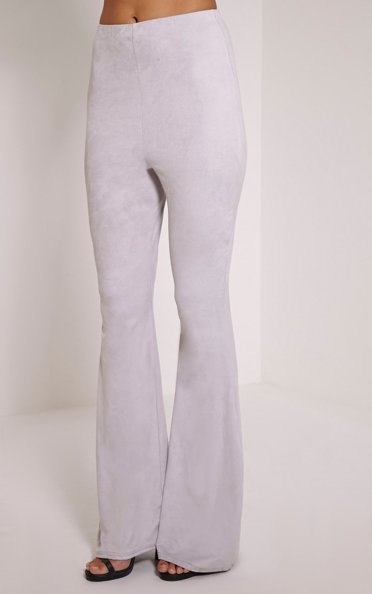Sloan Grey Faux Suede Flared Trousers 4