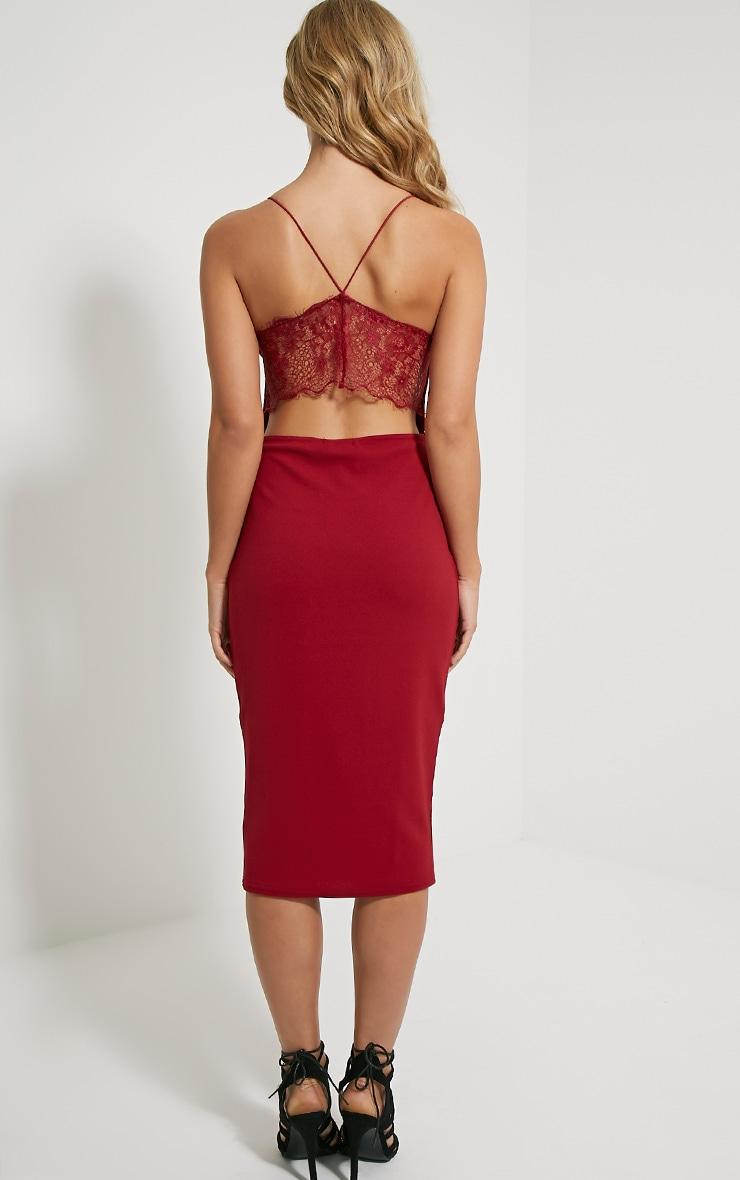 Tonia Oxblood Lace Back Detail Midi Dress 2