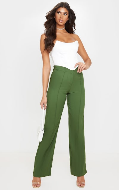 Khaki Anala High Waisted Straight Leg Trousers
