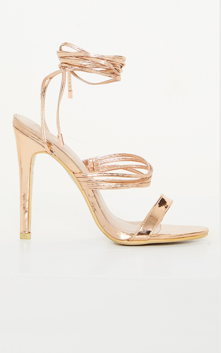Rose Gold Thin Strappy Lace Up Heels 4