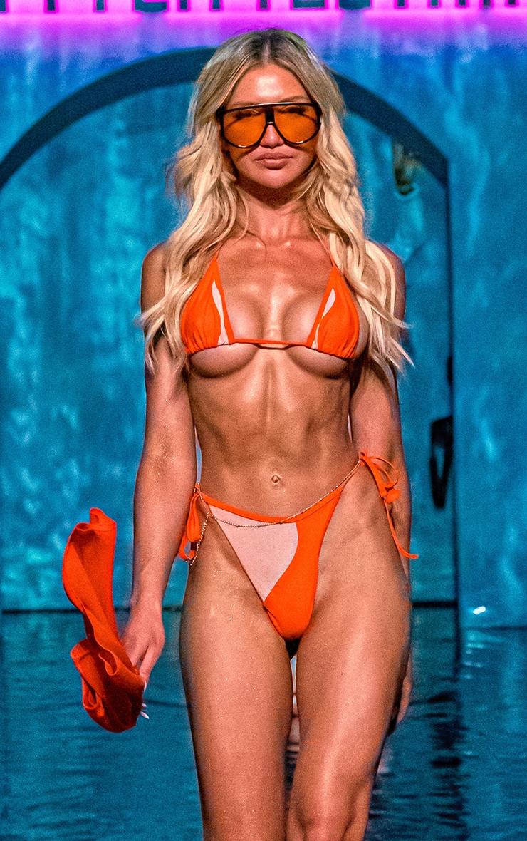 Orange Mesh Panel Bikini Bottoms 3