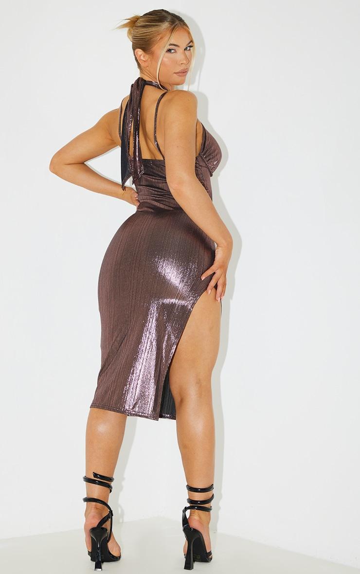 Pink Metallic Halterneck Underbust Detail Midi Dress 2