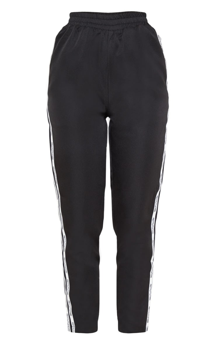 PRETTYLITTLETHING Black Stripe Track Pants 3