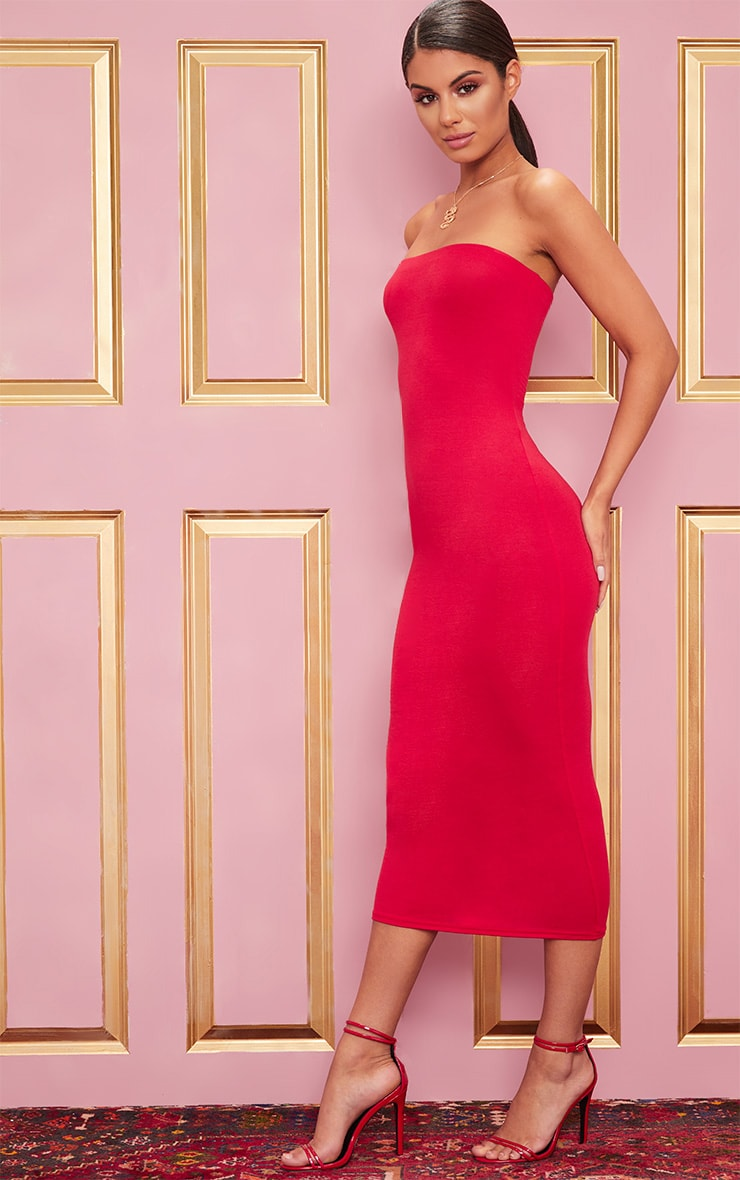 Basic Red Bandeau Midaxi Dress 4
