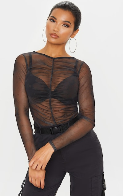 Black Tie Dye Printed Sheer Mesh Ruched Front Top