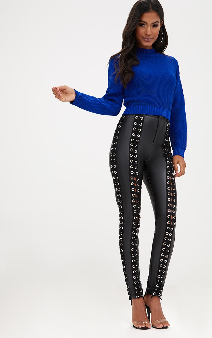 Cobalt Ribbed Cropped Knitted Jumper 3