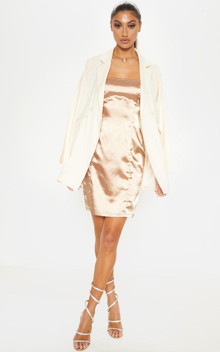 Tall Mocha Satin Strappy Straight Neck Bodycon Dress 4