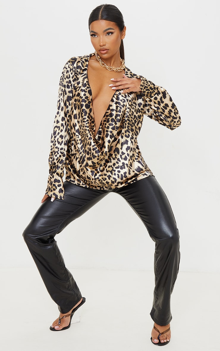 Tan Leopard Print Extreme Cowl Long Line Satin Shirt 3