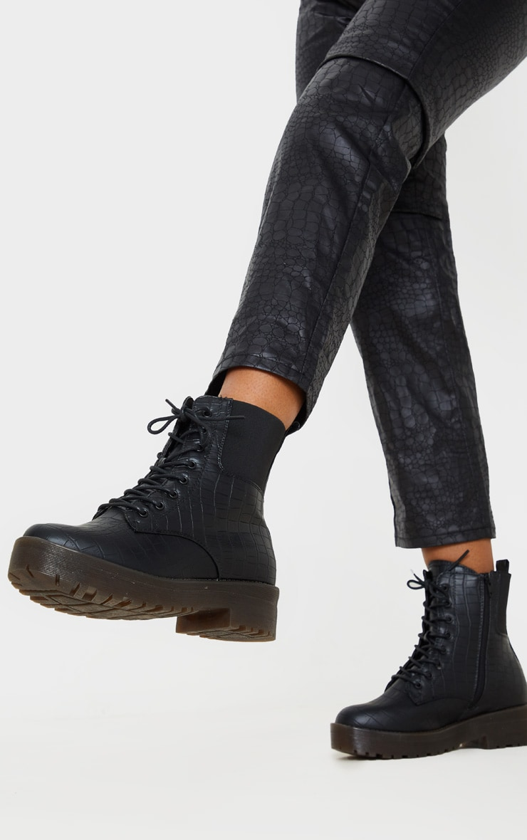 Black Croc Wide Fit Chunky Lace Up Ankle Boot 1