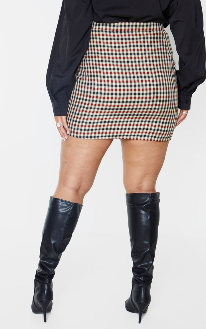 Plus Burgundy Houndstooth High Waist Mini Skirt 4