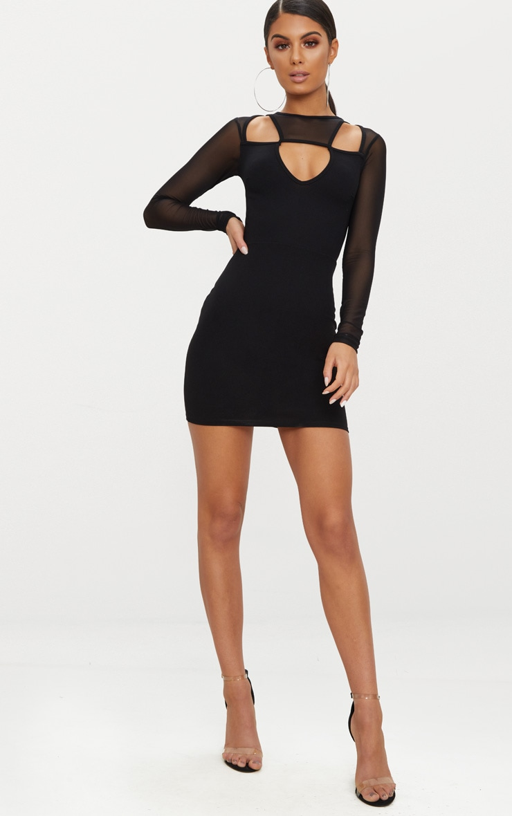 Black Mesh Sleeve Cut Out Detail Bodycon Dress 4