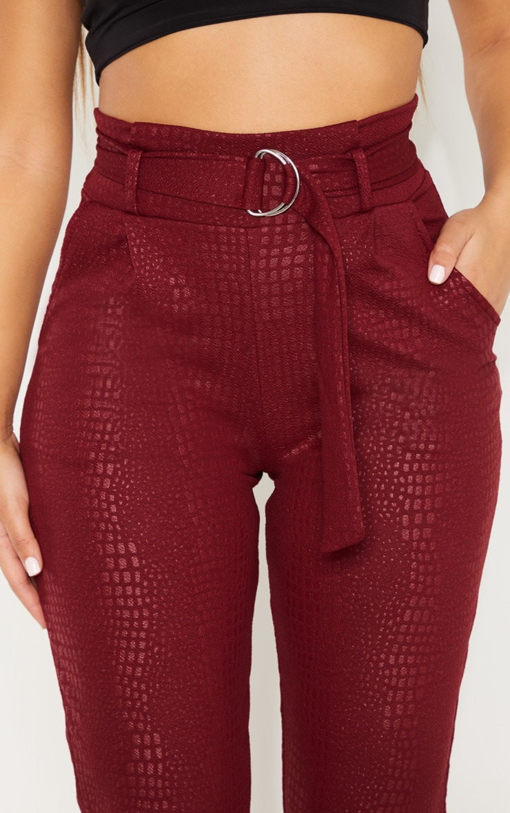 Burgundy Croc Print D Ring Belted Skinny Trousers 5