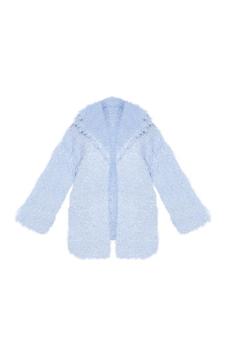 Plus Baby Blue Teddy Faux Fur Coat 5