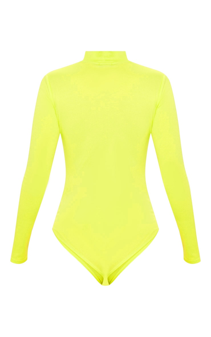 Neon Lime High Neck Jersey Long Sleeve Bodysuit  4
