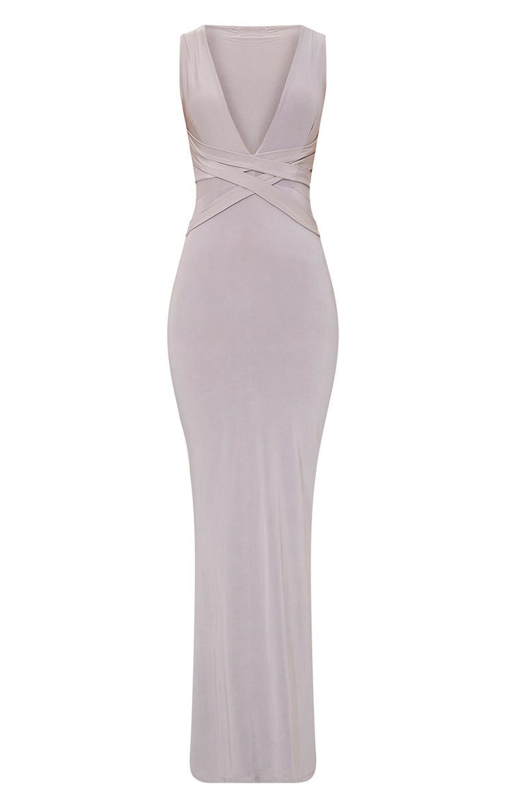 Maci Grey Double Wrap Slinky Maxi Dress 3