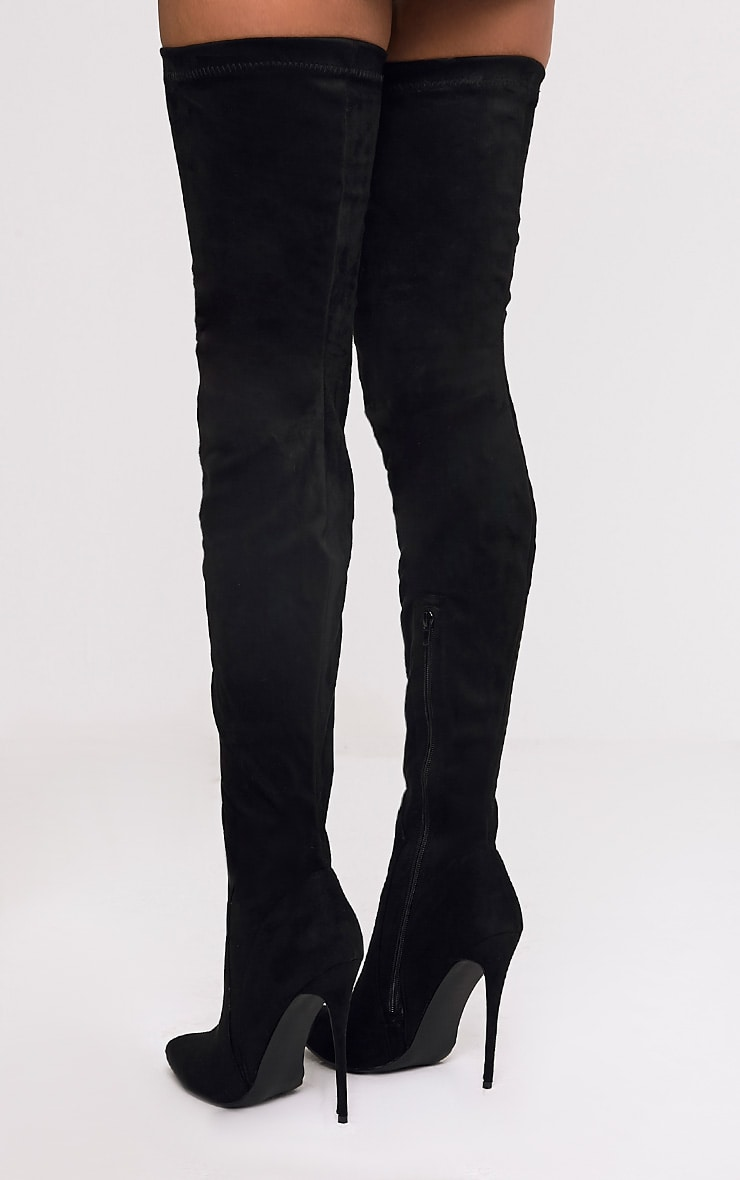 Emmi Black Faux Suede Extreme Thigh High Heeled Boots 3