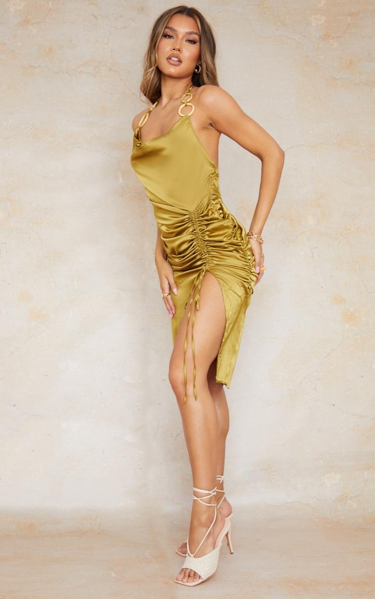 Olive Satin Halterneck Ring Detail Ruched Midi Dress 3