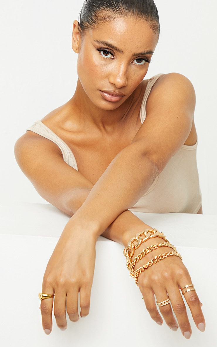 Gold Assorted Chunky 3 Chain Bracelet Pack