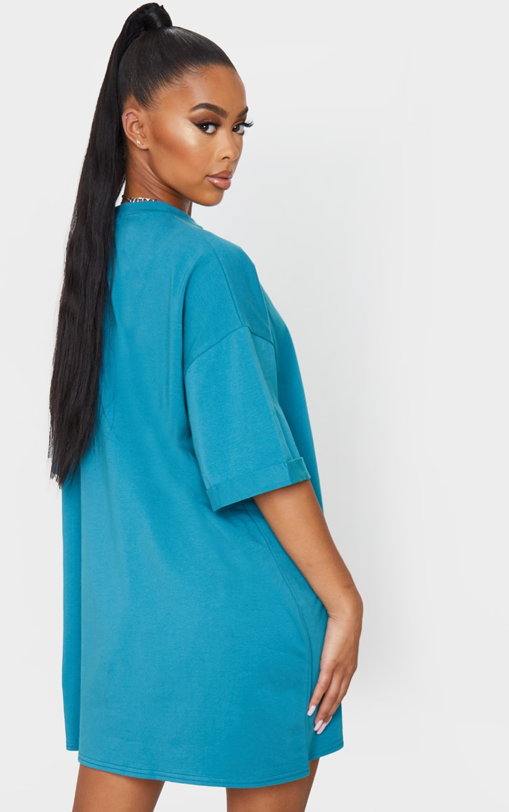 Teal Oversized Boyfriend T Shirt Dress 2