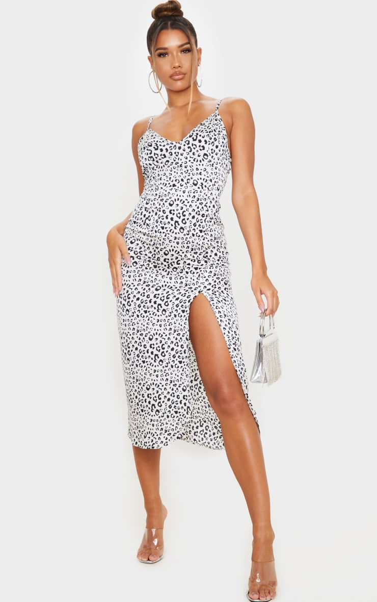 White Leopard Print Satin Midi Slip Dress 1