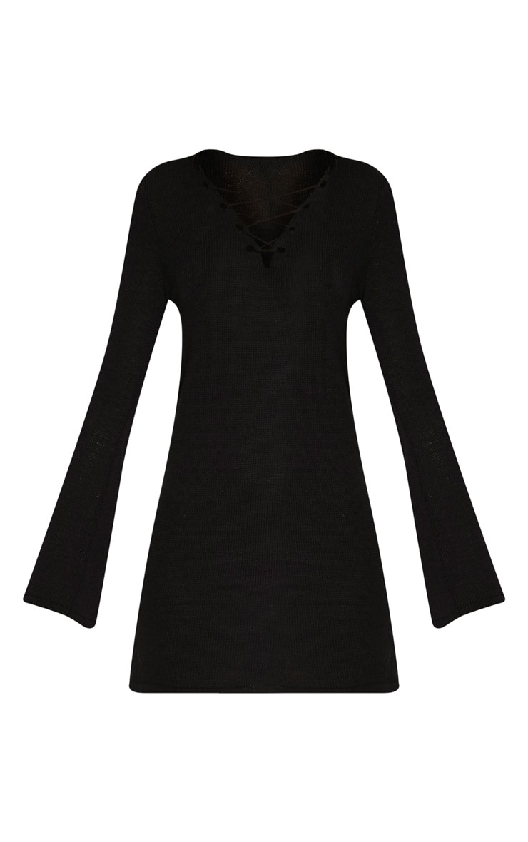Nena Black Knitted Bell Sleeve Dress 3