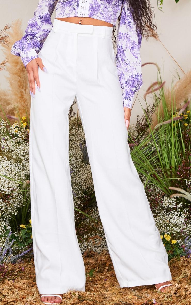 White Wide Leg Woven Pants 2