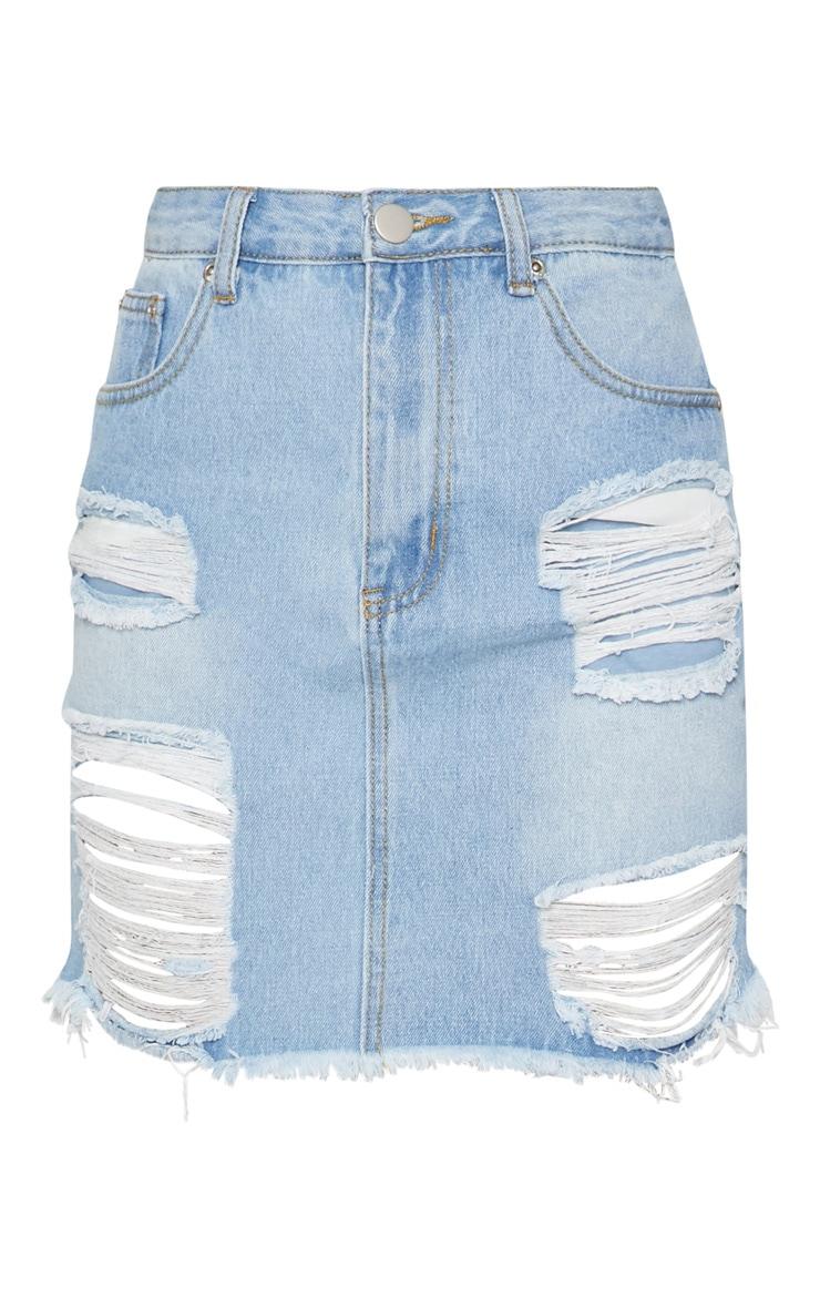 Mid Wash Heavy Distressed Denim Mini Skirt 3