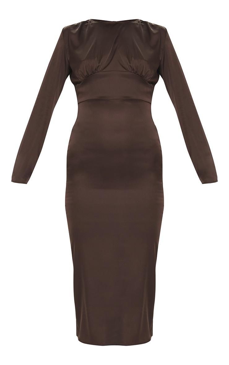 Chocolate Satin Long Sleeve Bust Seam Midi Dress 5