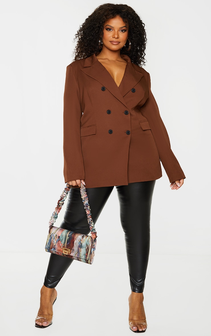 Plus Chocolate Brown Double Breasted Blazer 3