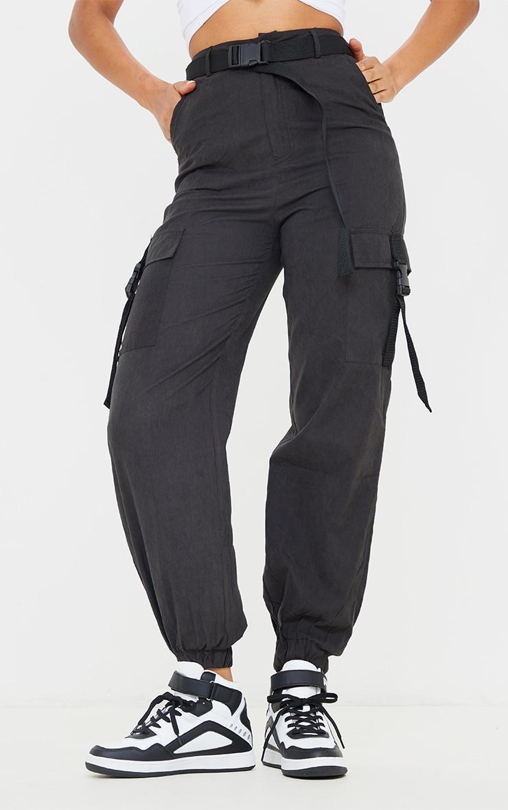 Black Buckle Detail Belted Cargo Pants 2
