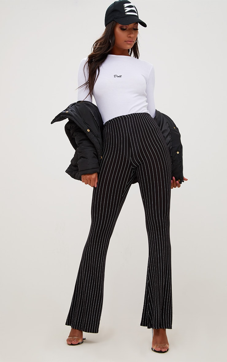 Black Jersey Pinstripe Flared Pants 1