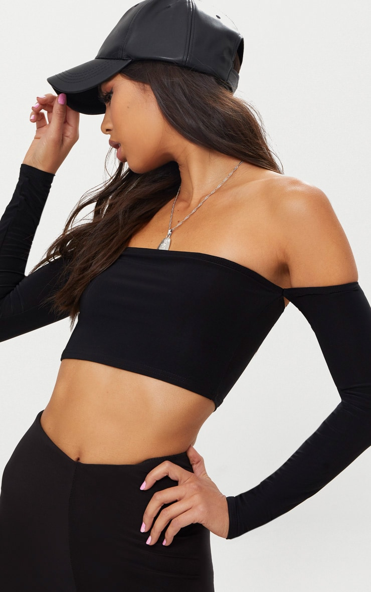 Black Slinky Bardot Long Sleeve Crop Top  5