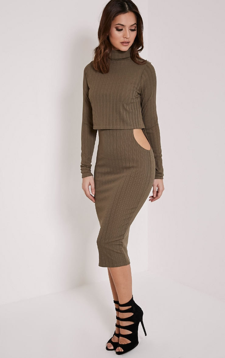 Alma Khaki Ribbed Cut Out Long Sleeve Midi Dress 3