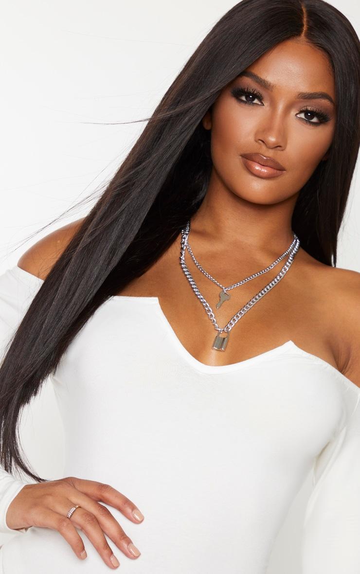 Shape Cream Bardot V Neck Bodysuit 6