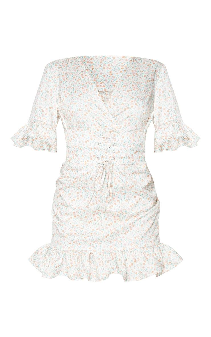 Cream Ditsy Print Corset Swing Dress 5