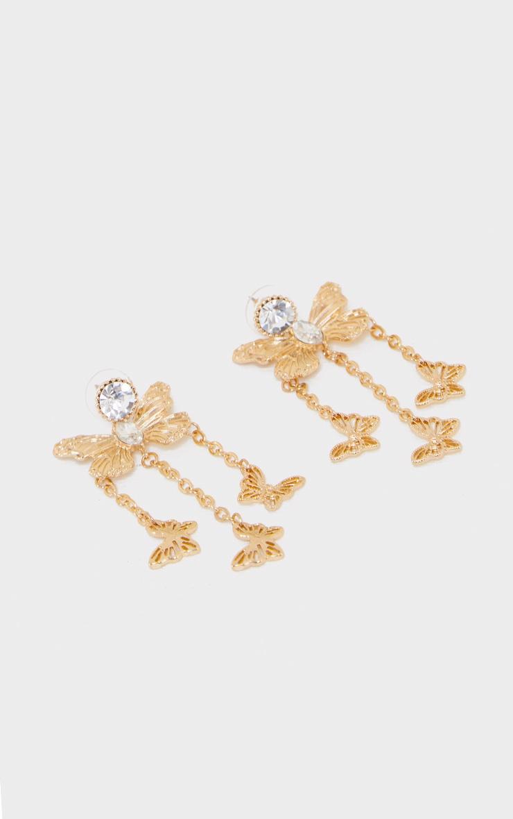 Gold Diamante Jewel Butterfly Tassel Earrings 1