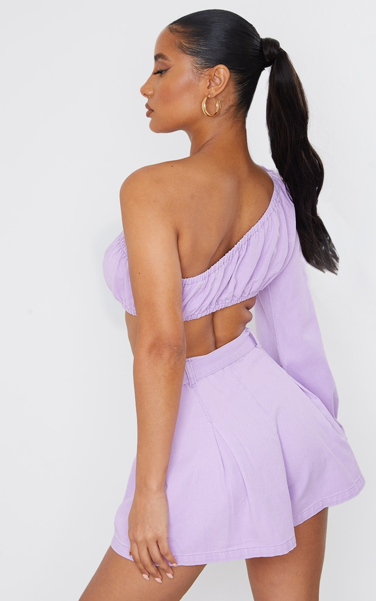Lilac Washed One Sleeve Denim Crop Top 2