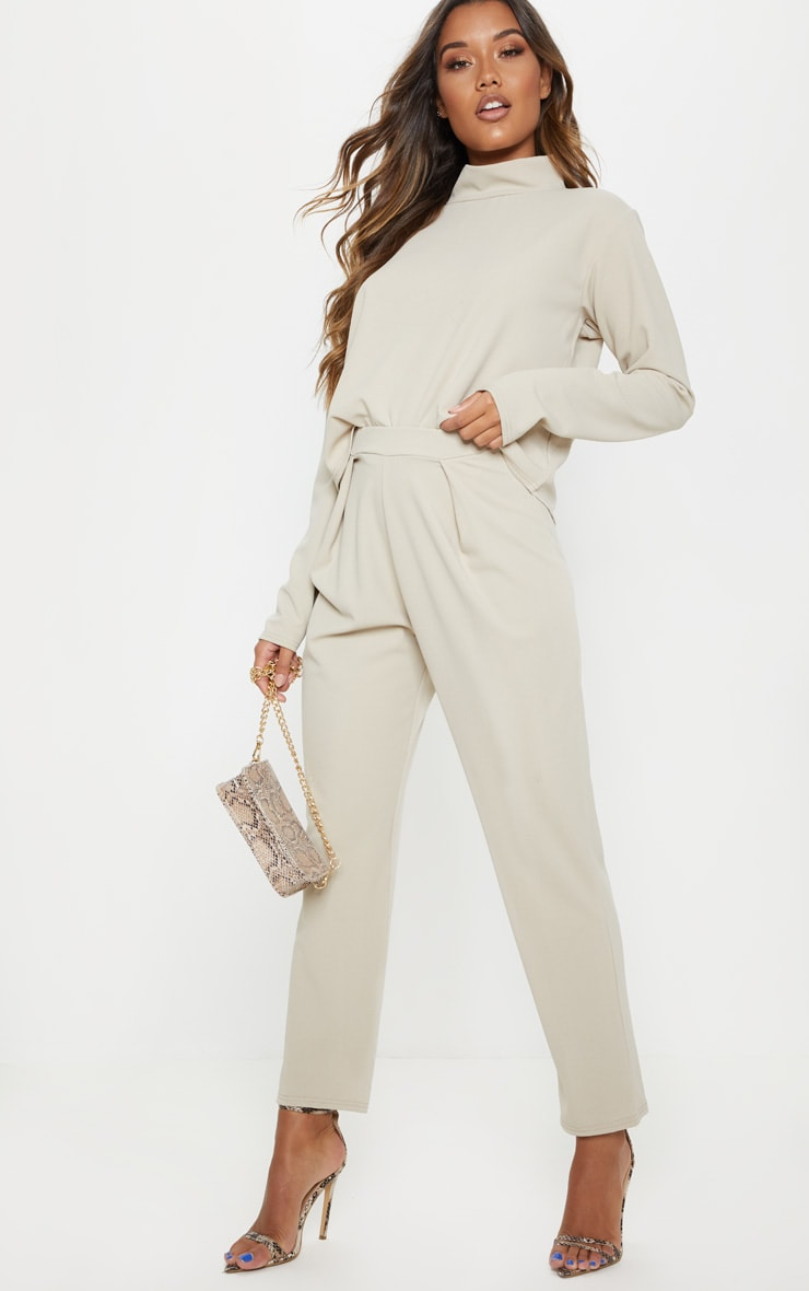 Pale Tan High Waisted Pleat Detail Tapered Trouser image 1
