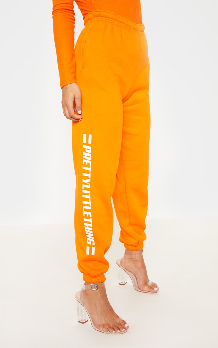 PRETTYLITTLETHING Bright Orange Logo Stripe Jogger 2