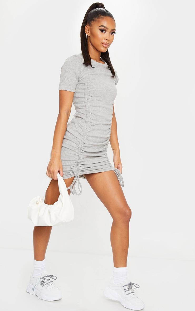 Grey Thick Rib Short Sleeve Ruched Front Bodycon Dress 3